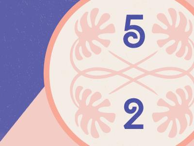 52 purple pink palm ornamental numbers 5 2