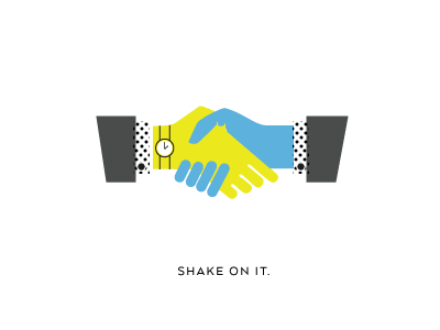 shake on it handshake watch halftone illustration