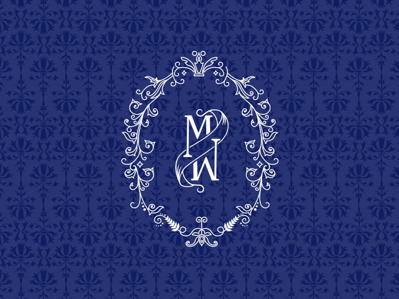 M  monogram frame flourish pattern