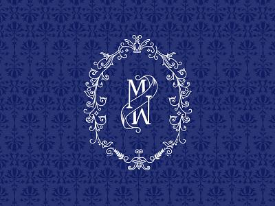 M monogram frame flourish pattern