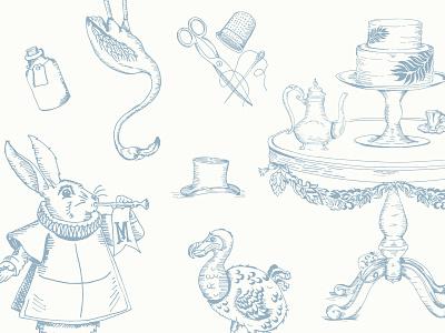alice inspired / wedding related  illustration rabbit flamingo dodo hat cake tea party wedding scissors alice bottle