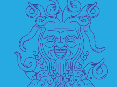 Octogod evil foam god beer tentacles lines illustration