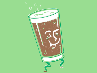 Happy Beer mid-century illustration happy posters and pints beer