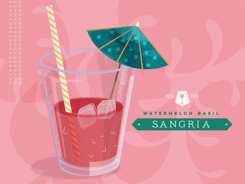Drink Recipe  tropical umbrella illustration drink