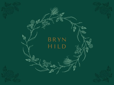Brynhild wreath plants prairie logo