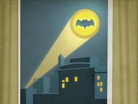 Farewell Adam West... illustratio night sky bat-signal batman