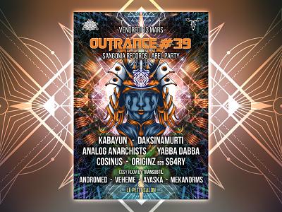 Outrance 39 flyer party vector animation illustration fractal music digital psytrance design psychedelic