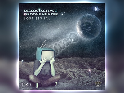 Dissociactive & Groove Hunter - Lost Signal space moon tv music psytrance digital psychedelic design