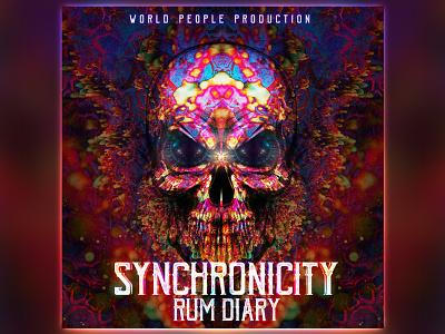 Synchronicity EP Artwork psytrance psychedelic pirates skulls rum