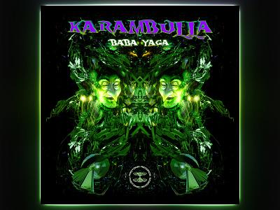 Karambulla EP Artwork poison psychedelic green witch baba yaga psytrance