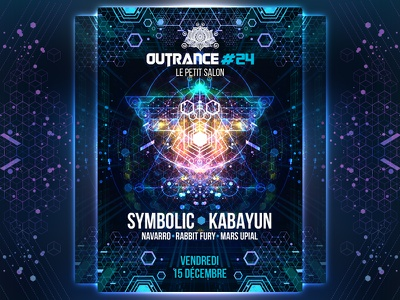 OUTRANCE #24 Party flyer france geometry sacred psytrance psychedelic outrance