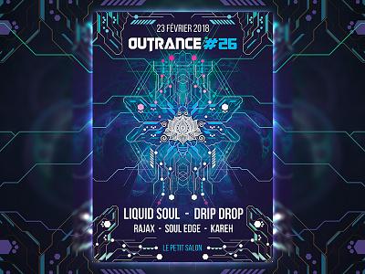 Outrance #26 Flyer france geometry sacred psytrance psychedelic outrance