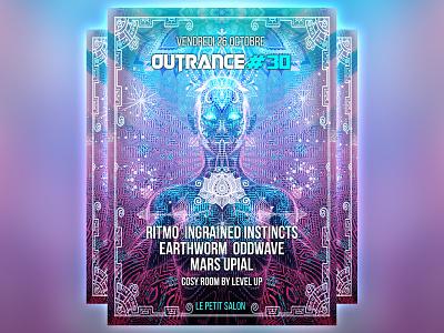 Outrance #30 flyer artwork techno france cover party 3d digital fractal music design psytrance psychedelic
