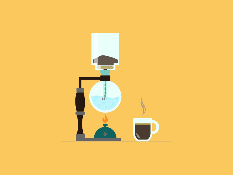 Coffee Siphon Illustration  graphic image vector steam water siphon coffee shapes adobe illustrator design illustration