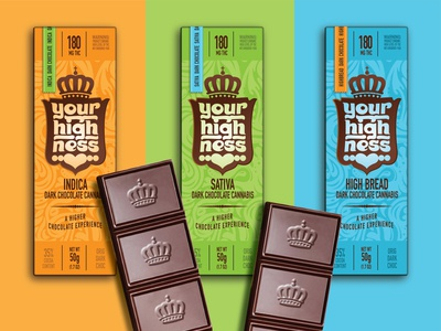 Your Highness Chocolate thc chocolate package design typography logo branding