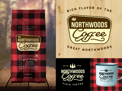 Northwoods Coffee coffee lodge rustic northwoods lake cabin outdoors camping package design typography logo branding
