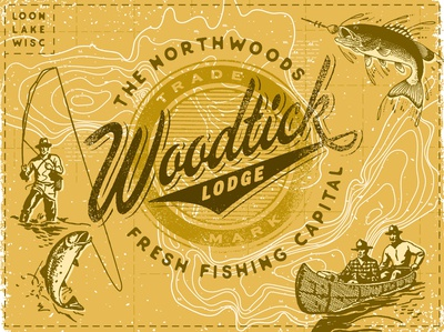 Woodtick Lodge Lake Map canoe fishing lodge rustic lake northwoods camping cabin outdoors typography branding logo