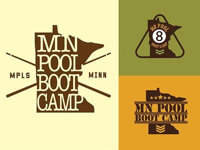 MN Pool Boot Camp 2 eightball cueball cue pool billiards illustration design typography branding logo