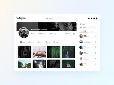 Instagram - profile page design ux design ux uiux ui ui design graphic design