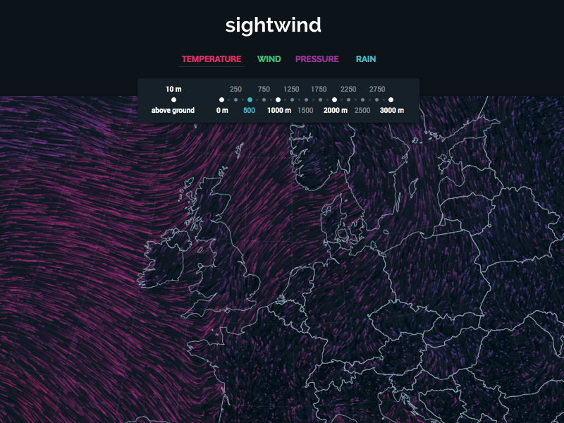 Sightwind weather wind sketch html5 interactive visualisation visualization data