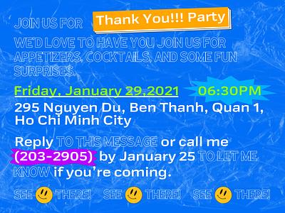 Thank You Party Invitation card invitation graphics design