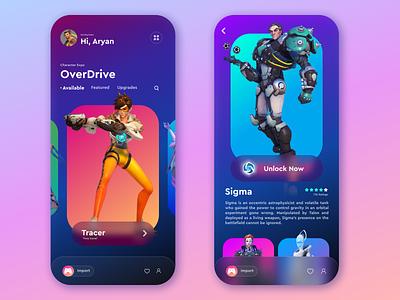 Overdrive Character Display UI ux 3d ui