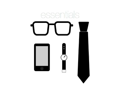 essentials to my life glasses tie mobile watch simple black and white