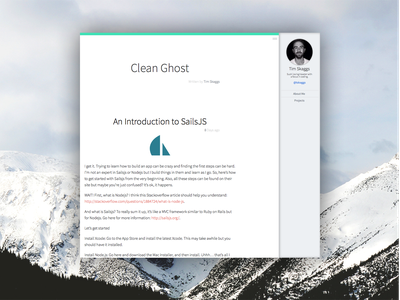 Clean Ghost Blog Profile Template ghost blog ui clean simple