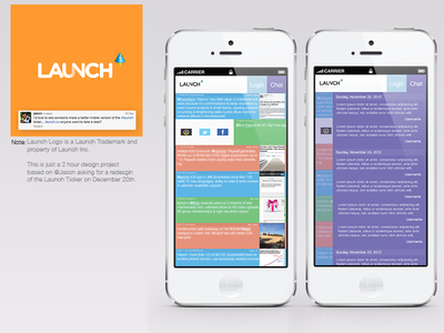 Launch Ticker Mobile Redesign mobile redesign two hours simple launch conference ticker