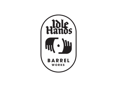 🍻 Idle Hands Barrel Works (WIP) microbrew brewery beer barrel hands black and white black minimal icon logo