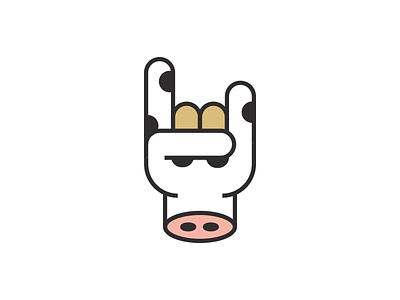 Wisconsin Rocks music logo illustration cow icon hand rock on rock wisconsin