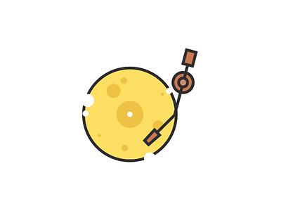 Wisconsin Rocks music logo illustration record icon cheese rock on rock wisconsin