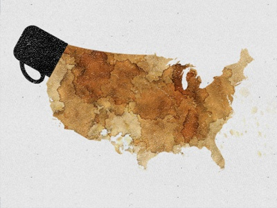 Coffee in America usa minimal icon country illustration america coffee united states infographic stain spill cup