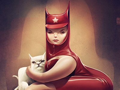 Catwoman illustration cat animal fantasy character