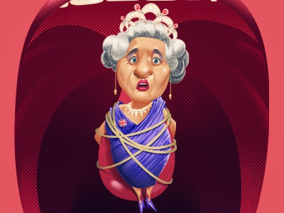 Release your English | the Queen. queen advertising illustration