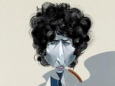 Bob Dylan illustration character portrait caricature nobel dylan bob