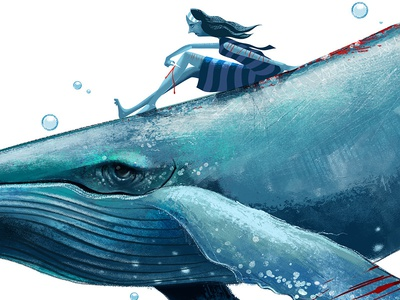 Blue Whale mutilation teenager blue whale press editorial illustration