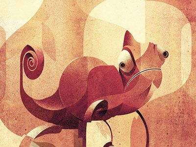 Camouflage animal illustration chameleon