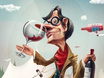 Wine Geek caricature character wine geek festival web print