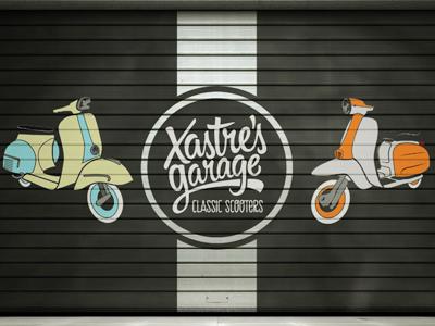 xastre's garage logo thypography lettering type design vespa lambretta classic scooters
