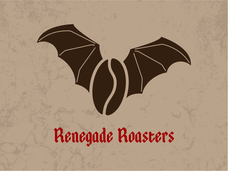 Renegade Roasters black letter coffee bat daily logo challenge graphic branding logo