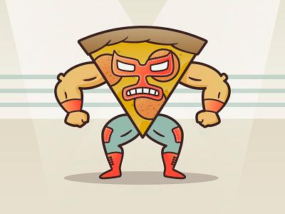 Pizza Libre nacho libre food fight illustration illustrator vector character wrestler luchador pizza