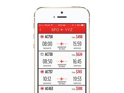 Air Canada   Flight List air canada messages flights airline ios development toronto ios iphone case study