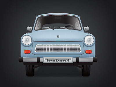 Trabant trabant car vintage blue illustration old clasic