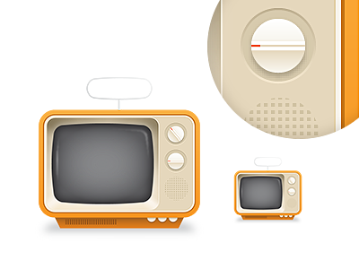 TV tv television illustration retro vintage orange