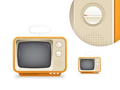 TV tv television illustration retro vintage orange
