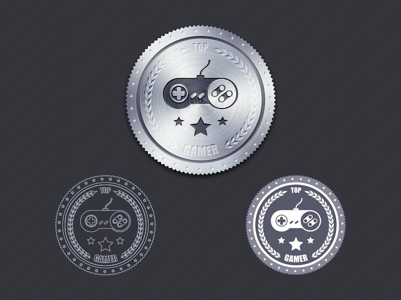 Badge, Free PSD free psd vector badge gamepad metal @2x