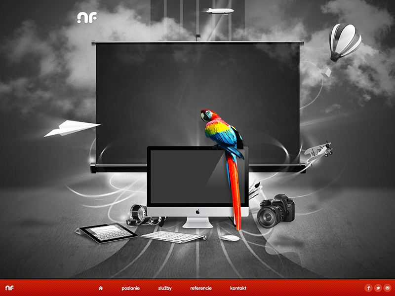 Concept, wip website wip imac magic mouse air balloon screen ipad camera film clouds plane macaw