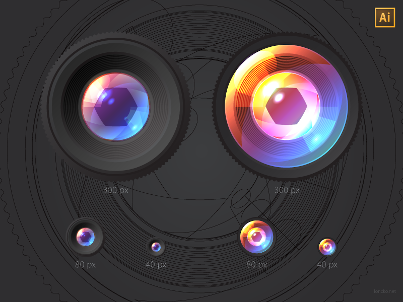 Lenses, vector freebie (AI) lens camera vector illustration icon dark ai freebie free @2px