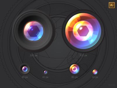 Lenses, vector freebie (AI)